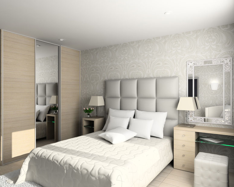 Light coloured theme bedroom